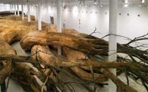 Transarquitetonica | 2014 | Museu de Arte Contemporânea, São Paulo - Brazil wood, brics, mud, bamboo, PVC, plywood, tree brunches and other materials | 5 x 18 x 73 m photo: Everton Ballardin