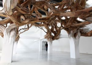 Baitogogo | 2013 | Palais de Tokyo, Paris - France plywood and tree brunchs | 6,74 x 11,79 x 20,76m | photo: André Morin